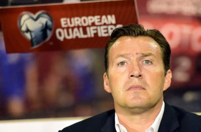 Belgium's coach Marc Wilmots looks on during the Euro 2016 qualifying match between Belgium and Bosnia and Herzegovina on September 3, 2015 at the King Baudouin Stadium in Brussels. AFP PHOTO/ EMMANUEL DUNAND