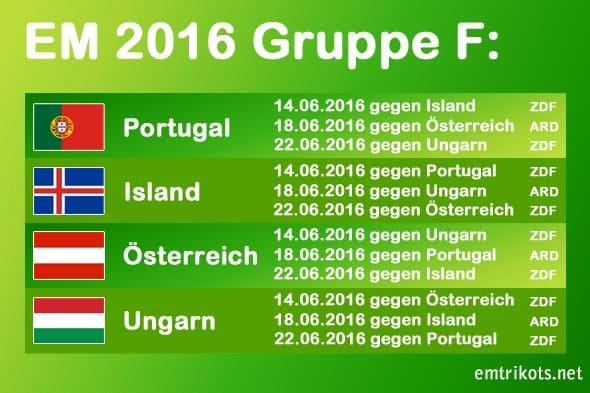 Portugal spielt bei der EM2016-Endrunde in Gruppe F gegen Island, Österreich und Ungarn.