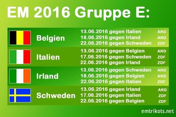 Irland spielt bei der EM-Endrunde in Gruppe E gegen Belgien, Italien und Schweden.