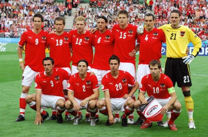 Österreich bei der Euro 2008 Championships Group B gegen Kroatien. AFP PHOTO JOE KLAMAR