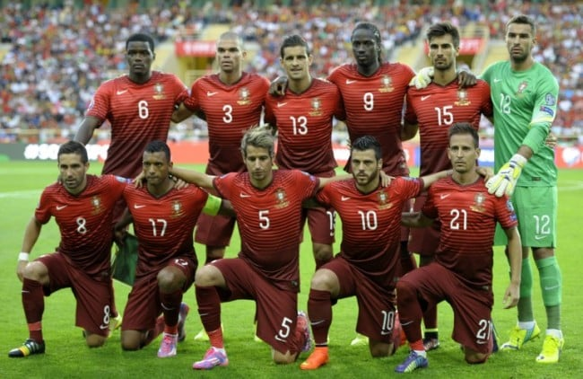 (FromL) Portugal players, (Back row) midfielder William Carvalho, defender Pepe, defender Ricardo Costa, forward Eder, midfielder Andre Gomes, goalkeeper Rui Patricio and (Front row) midfielder Joao Moutinho, forward Nani, defender Fabio Coentrao, forward Vieirinha and defender Joao Pereira pose before the UEFA EURO 2016 Qualifier football match Portugal vs Albania at the Municipal Stadium in Aveiro on September 7, 2014. Albania won the match 1-0. AFP PHOTO/ MIGUEL RIOPA