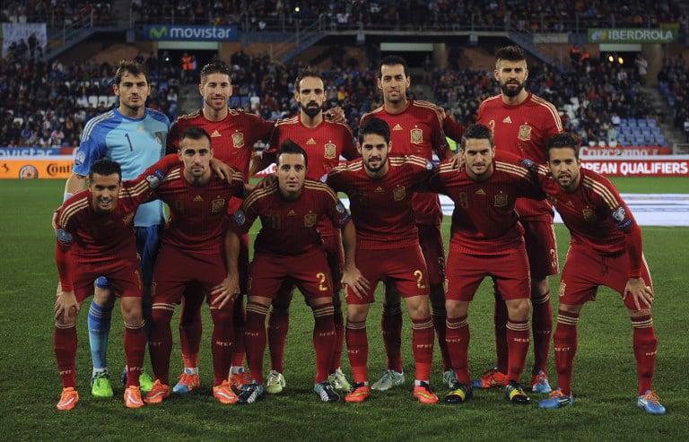 Die spanische Fußballnationalmannschaft gegen Weißrussland am 15.November2014. AFP PHOTO / CRISTINA QUICLER
