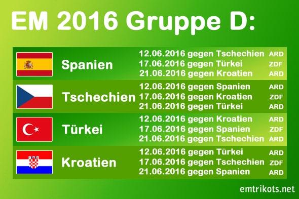 Tschechien spielt bei der EM-Endrunde in Gruppe D gegen Spanien , die Türkei und Kroatien.