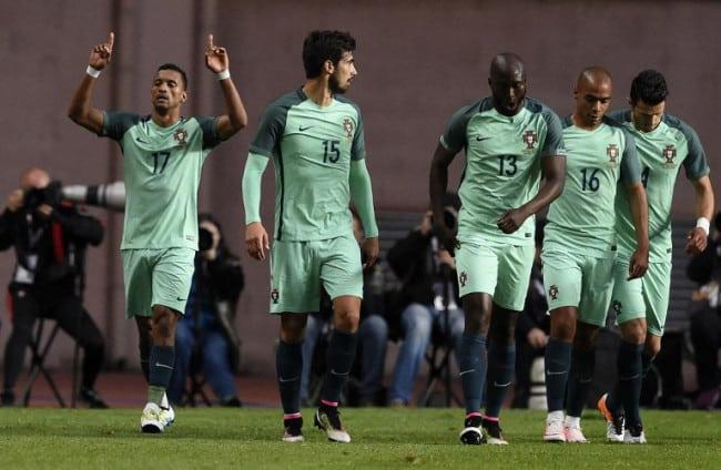 portugesischer Nationalspieler Nani feiert sein Tor gegen Belgien am 29.März.2016. / AFP / FRANCISCO LEONG