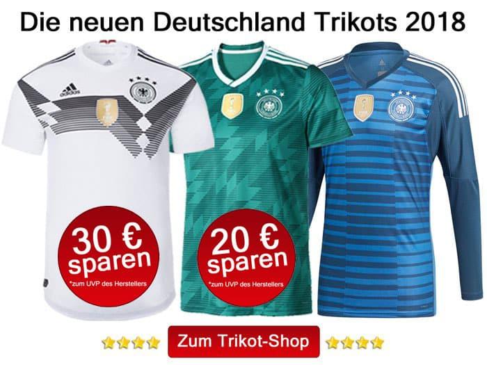Das sind die neuen DFB Trikots 2018: das weiße Heimtrikot, das grüne Awaytrikot und das blaue Torwarttrikot 2018.